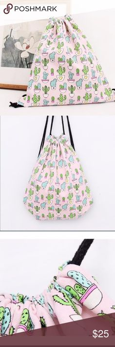 2 LEFTCACTUS STRING BAG/ BACKPACK CACTUS STRING BAG. Size: Large. New. Canvas made. Very sturdy fabric canvas. Color pink and green.Condition: New Smoke free home/Pet hair free No trades, No returns No modeling  Shipping next day. Beautiful package! I LOVE OFFERS, offer me! ALL ITEMS ARE OWNED BY ME. NOT FROM THRIFT STORES All transactions video recorded to ensure quality.  Ask all questions before buying (a-bin) Bags Backpacks