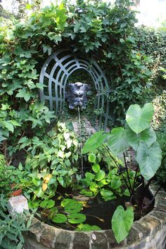 I should put an arch around the wall fountain to accentuate it as it gets a little lost on the stone wall Charleston Gardens, Charleston Style, Roman Fountain, Most Beautiful Gardens, Garden Fountains, Amazing Flowers, Garden Styles, Dream Garden, Water Features