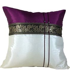(Copter Shop) Throw Cushion Cover /pillow Elephant Middle Textile Design Handmade By Thai Silk Size 16x16 Inches (Purple dark with white ).
