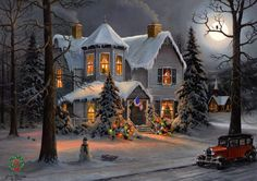 Cozy little warm house on a cold winters night....love this