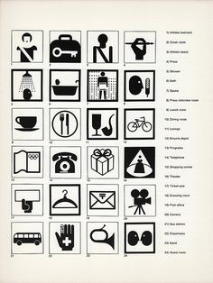 Sign System for the Tokyo Olympics, 1964. Pictographs identifying facilities, designed by K. Sugiura, I. Owastu, I. Tomaka, & M. Katsumi.