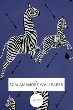 SCALAMANDRE WALLPAPER: Zebras Denim. We offer the largest selection of wallpaper designs. Choose from over 200 designer brands in our store. Click to get free shipping to USA. | Wallpaper + Fabrics | L.A. Design Concepts