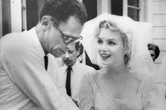 Marilyn Monroe's Wedding Dresses: This photograph taken at Marilyn's Jewish Wedding 1st July 1956 - the third & last husband,, playwright Arthur Miller.