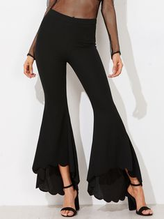 SheIn offers Scalloped Dip Hem Flared Pants & more to fit your fashionable needs. Bell Bottom Trousers, Ruffle Pants, Belted Shorts, Fall Fashion Trends, Fashion Ideas, Fashion Inspiration, Type Of Pants, Couture, Flare Pants