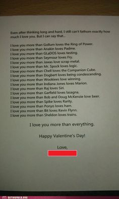 """This is a perfect nerd valentine! It's on a """"fail blog"""" but I don't consider it a fail...I consider it a WIN!! ;D"""