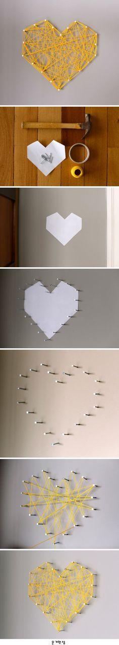 DIY Threaded Heart Wall Art 벽에 하트 달기 DIY