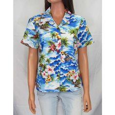 Hookipa Hibiscus Floral Women Fitted Shirt ($40) via Polyvore featuring tops, blue shirt, flower print shirt, floral tops, fitted shirts and floral cotton shirt