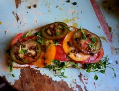 Harriet the Spy Tomato Sandwich with Pea Shoots and Fried Capers [substitute vegan mayo]