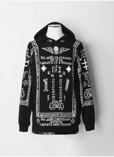Mens K Church Print Leather Mix Raglan Hoodie at Fabrixquare ($47.00) - Svpply