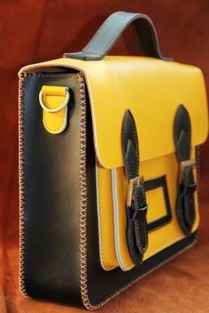 Handmade Genuine Leather Satchel / Messenger Bag / Backpack - Black with Yellow…