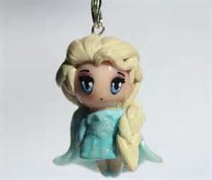 Polymer clay Elsa from Frozen charm