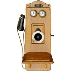 19th Century Vintage Kellogg Wall Phone (815 CAD) ❤ liked on Polyvore featuring home, home decor, decorative objects, filler, wooden home decor and wood home decor