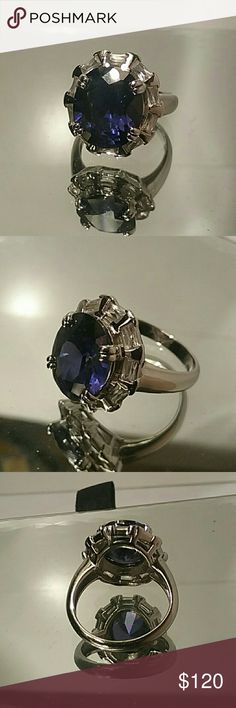 Deep Blue Diamond Cut w/ CZ sets in Silver Ring was purchased from JC PENNEY'S.  RETAIL $300.. HARD to read stamp...  Size 8 Made in Thiland I think the number says 925...not for sure Purchased in fine jewelry dept of JC Penny's JC PENNEY'S Jewelry Rings