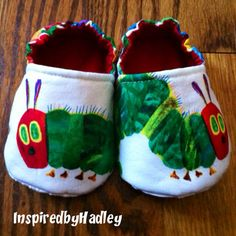 The Very Hungry Caterpillar Custom Slip-On Baby Booties on Etsy, $17.00