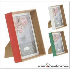 """Portafotos de madera """"Summer"""". Colores mint, verde azulado o aguamarina, coral y blanco - WWW.DECORATECA.COM"""