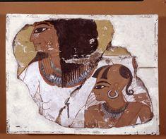 Inherkhau and son, fragment of painted stone tomb-wall. From the Tomb of Inherkhau, Deir el-Medinah, Upper Egypt, 20th Dynasty. (British Museum EA1329)