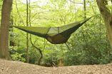 Hanging hammock tent.  Because tents on the ground are so 5 minutes ago.