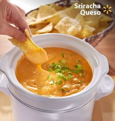 Taste the Sriracha sensation! This spicy queso appetizer is a great dip for tortilla chips or veggies w/ just a few ingredients. Throw cheese, garlic, flour & milk into a crock pot before your football guests arrive & hear the fans cheer.