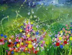 My paintings of meadows burst with life, as if the flowers are tumbling from the canvas into the room