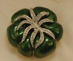 Vintage Judith Leiber brooch in box green enameled tomato pave set rhinestone