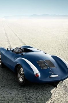 Porsche 550 Spyder in blue and white, with a passenger cockpit cover.