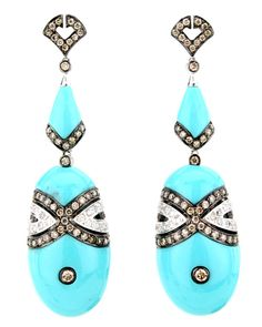 Wendy Yue - Turquoise Oval Drop Earrings