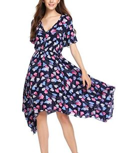 AIEason Ladies Vest Skirt Womens Sleeveless V Neck with Pockets Floral Print Loose Cotton Beach Dress