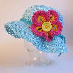 CROCHET PATTERN - Island Girl - a sun hat with flower in 5 sizes (Infant, Baby, Toddler, and Child/Youth sizes) - Instant PDF Download