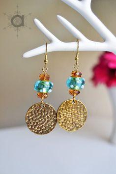 Lampwork glass earrings, Hammered dangle earrings, blue earrings, glass earrings, blue and golden earrings