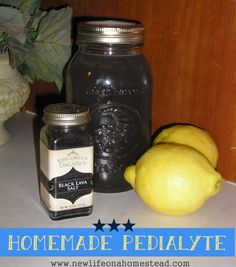 Make your own homemade pedialyte electrolyte replacement at home. It's easy, inexpensive, and you'll avoid those nasty artificial ingredients.