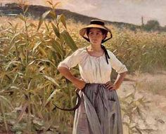"""""""A girl in Harvest"""" by Édouard Debat Ponsan, French realistic painter (1847-1913)."""