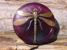 Aubergine XLG Golden Dragonfly Czech Glass Button