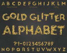 """Glitter Alphabet #Clipart Clip Art: """"Gold Glitter Alphabet"""" digital gold glitter…"""