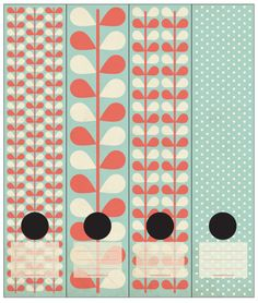 Must have :) Retro leaves and polkadots in a dull blue, red-orange and white. Self-adhesive Lever Arch labels. 4 different labels in a packet.
