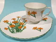Staffordshire Snack Tray,  English Bone China Tea Cup and Saucer, Tea and Toast, Tea Set, Antique Tea Cups, Snack Set, Orange Flower Cups by AprilsLuxuries on Etsy