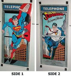 Rare vintage original 1986 DC Action Comics 2-sided Superman The Legend Returns poster 1: 1980's Man of Steel DC comic book pin-up/JLA Justice League of America super-hero!