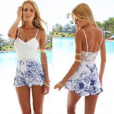 Sexy Damen V Neck Spaghetti Overall Boho Sommer Strand Party Kleid Kurz Jumpsuit in Kleidung & Accessoires, Damenmode, Kleider | eBay!