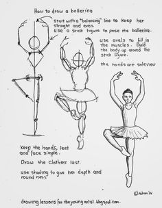 How to Draw Worksheets for The Young Artist: How To Draw A Ballerina On One Leg Great way to teach young artists about proportion and size. Basic Drawing, Drawing Skills, Drawing Lessons, Drawing Techniques, Figure Drawing, Pencil Art Drawings, Easy Drawings, Drawing Sketches, Sketching