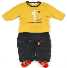 """Süße Hose der Marke #Prenatal mit """"1"""" Sweatshirt für den 1. Geburtstag und Langarmbody in Gr. 50/56."""