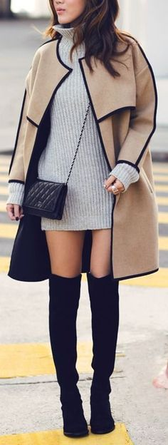 Camel black piped coat with gray sweater dress and black boots