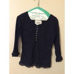 A&F NAVY TOP Abercrombie & Fitch navy top. Cute lace pattern with buttons. You're free to make offers and ask questions. Abercrombie & Fitch Tops Blouses