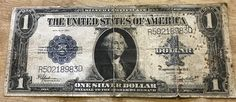 1923 Silver Certificate United State Large One Dollar bill; blue seal by IroquoisCopper on Etsy
