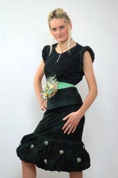замшевая юбка-баллон и туника