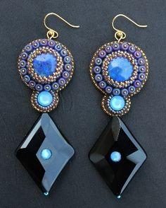 Lapis & Black Onyx Diamond Dangle Earrings