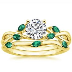 18K Yellow Gold Willow Ring With Lab Emerald Accents from Brilliant Earth