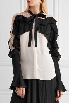 Elie Saab   Lace-paneled ruffled silk-blend georgette blouse   NET-A-PORTER.COM