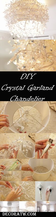 Why buy a chandelier for a hefty price when you can as well create one using regular and cheap materials that are within your reach? Below, we take you through some easy and pretty detailed steps on how you can make your own chandelier within just a few hours, or even minutes.  First, you will need to have all the materials and equipment reay. You will require awhite, sparkly lampshade that is around 14 inches in diameter...