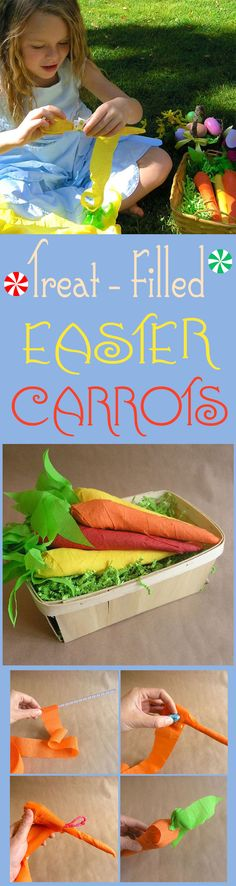 How cute! Treat-filled wrapped carrots for Easter #DIY #crafts