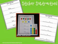 FREE!  Sticker subtraction is a great hands on guided math group to practice subtraction!
