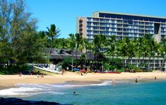 Kalapaki Beach is in Lihue, a town on the west side of Kauai, Hawaii. It remains one of the quieter and less crowded beaches on the island. Lihue Kauai, Island Inn, Marina Bay Sands, Dolores Park, Hawaii, Beach, Garden, Outdoor Decor, Travel